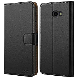 HOOMIL Case Compatible with Samsung Galaxy J4 Plus, Premium Leather Flip Wallet Phone Case for Samsung Galaxy J4 Plus Cover (Black)