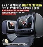 2 x XTRONS Kopfstützen DVD Player 22,86 cm USB SD Slot Spiel mit Reißverschluss HD Abdeckung integrierte-in IR/FM Transmitter IR Headset (Farbe optional) schwarz