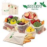 DINNA Baumwoll Gemüse und Obst Tasche, Wiederverwendbare Lebensmittel Einkaufen Produkte Taschen - Set mit 8 (Langlebig, Waschbar, Tara Gewich auf Etikett, Kordelzug)