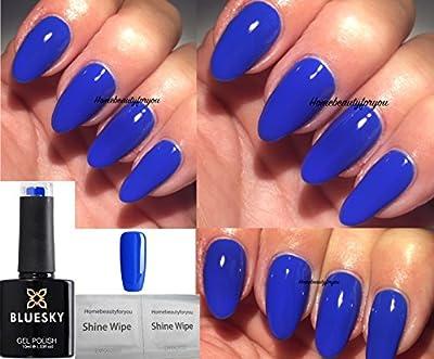 Bluesky Neon Royal Blue Cobalt Bamboo Neon 32 Nail Gel Polish UV LED Soak Off PLUS 2 Luvlinail Shine Wipes