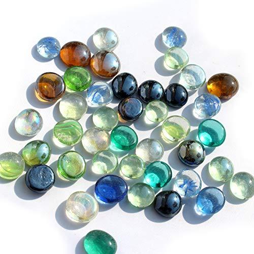 HAKACC Flache Glasnuggets, ca. 100-120 Stück Füllmenge 0,3L Vol. Premium Gemischte Farbe Flache Deko Mosaiksteine Vase Füllstoff Perlen Tabelle Scatter Dekor