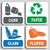 4 Pack Recycling signs, self adhesive Stickers Doors or Walls ideal for bins