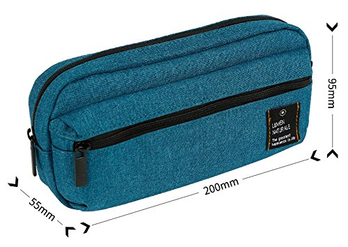 Moolecole Schüler Mäppchen Groß Kapazität Segeltuch Schreibwaren Tasche Reißverschluss Mäppchen Schreibwaren-Box Dunkelgrün