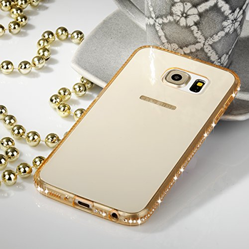 Ego® TPU Case Cover Bling Rhinestone Case Silicone Case Diamond Case voor de Samsung Galaxy S7 bordo G935 oro Luxe Glitter Matt Case Crystal Case Trasparente Shiny Case Ultra Thin Case