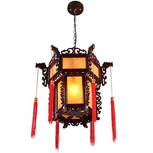 BRIGHTLLT Antike Kronleuchter Restaurant leichte Klassische Chinesische Laterne Teehaus gang Tempel mit Kronleuchtern Pergament aus hellem Holz Lampe, 430*h 450 mm - Chinesische Lampe