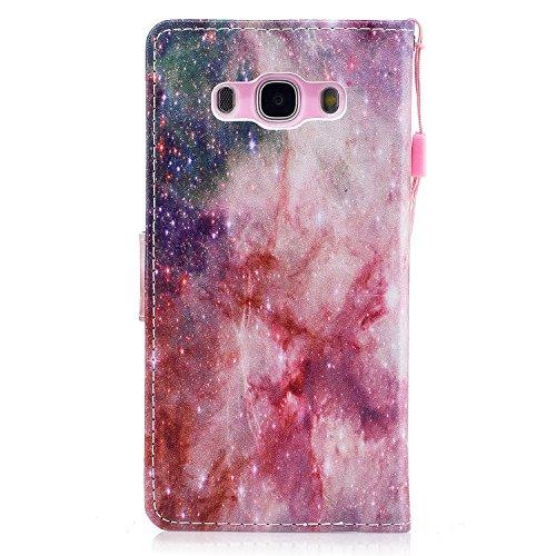 Linvei Samsung Galaxy J7(2016) Etui Cuir Coque,[Conception de Motif Coloré][PU Cuir Housse][Portefeuille Flip][Stand Soutien/Card Slot /Fermeture Magnétique]-Plante tropicale verte Belle nébuleuse