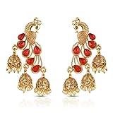 #8: Sapna FX Traditional Gold Plated Peacock & Flora Fancy Jhumki Earrings - GHPR-004