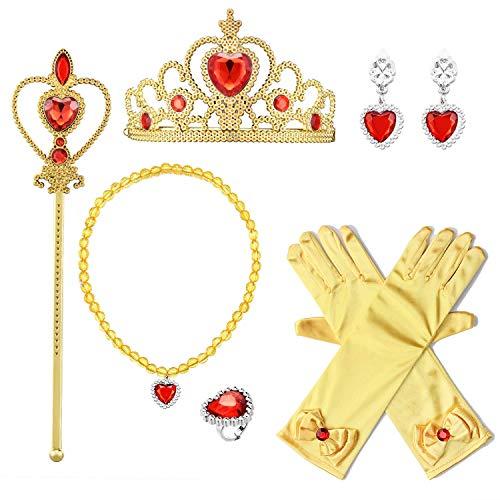 Wuree Princess Dress Up Zubehör Geschenkset für ELSA Crown Scepter Halskette, Ohrringe, Handschuhe Gelb 6 Stück
