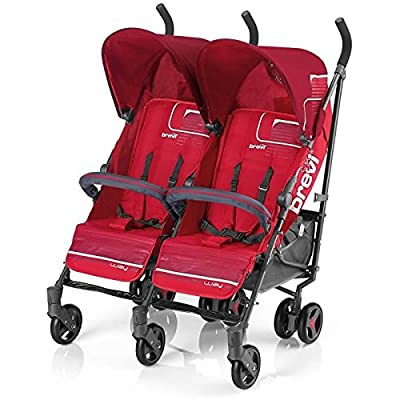 BREVI 764003 Zwilling Buggy Marathon Twin, color rojo