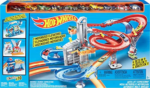Hot Wheels drb28 Gare + 10 Véhicules Mega Metropolis Set to