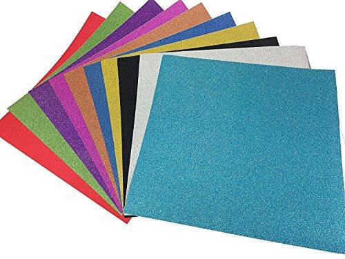 10 Blatt Klebefolie Glitzer Selbstklebende Dekofolie Farbige Bastelfolie Glitter Vinyl Aufkleber für DIY Handwerk Scrapbooking 30x30cm mehrfarbig (Buchstaben Schablonen Für T-shirts)