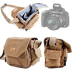 DURAGADGET Etui avec bandoulière pour Appareil Photo Kodak AZ421, AZ422, AZ526, FZ201, FZ151, FZ52, FZ42, FZ53, FZ43 et Leica C (Typ 112) - Style Vintage Couleur Sable