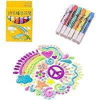6 PCS Magic Popcorn Pen,Magic Colour DIY Bubble Popcorn Drawing Pens,Puffy Embellish Decorate Graffiti Stationery
