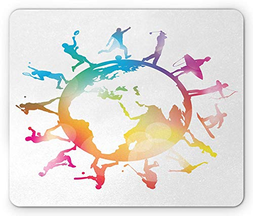 World Map Mouse Pad, Golf Football Baseball Archery Basketball Players On Globe Picture, Standard Size Rectangle Non-Slip Rubber Mousepad, Pink Orange Pale Blue -