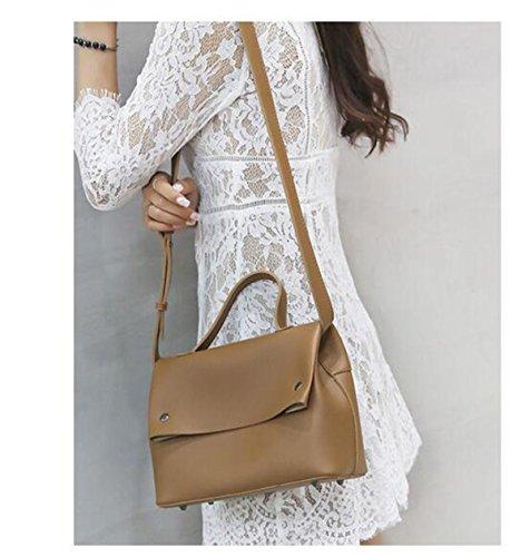 QPALZM Frauen Handtaschen Umhängetaschen Tote Top-Griff PU Ledertaschen Mode Quasten Brown