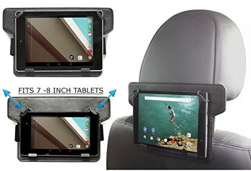 Navitech schwarze Leder Tablet PC verstellbare, festsitzende Halterung/Station für KFZ-kopfstütze/Rücksitz für das Samsung Galaxy Tab 4 Nook / Samsung Galaxy Tab 3 7.0