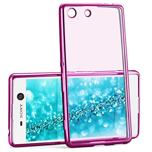 Chrome Case für Sony Xperia M5 | Transparente Silikon Hülle mit Metallic Effekt | Dünne Handy Schutz Tasche von OneFlow | Back Cover in Pink