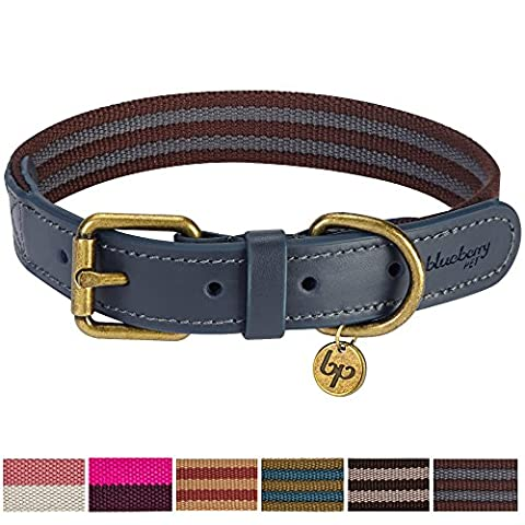 Blueberry Pet Vintage Staple Striped Soft Genuine Leather and Polyester Webbing Dog Collar in Noir Grey and Burgundy, Large, Neck 46cm-56cm, Adjustable Collars for Dogs