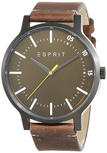 Esprit Evan Men's Quartz Watch with Green Dial Analogue Display and Brown Leather Strap ES108271002