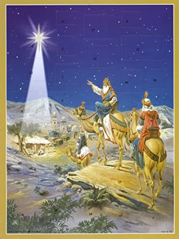 Large Advent Calendar 24 doors 355 x 260 mm - 3 wise men nativity - with glitter and translucent windows bible verses behind doors - RS759 - traditional antique German