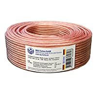 MADE IN GERMANY 30m Speaker Cable 2x2,5mm² genuine copper round transparent, Model 7348