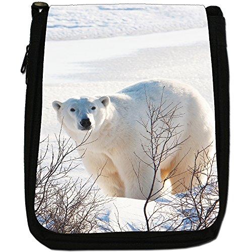 Polar Bears Media Nero Borsa In Tela, taglia M Polar Bear in Branches & Snow