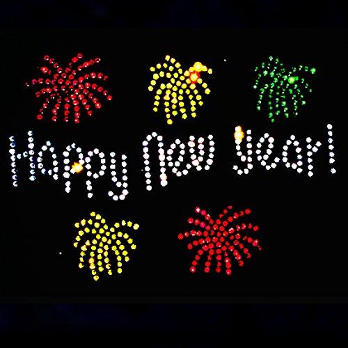 elegantes Party Fun Shirt Silvester HAPPY NEW YEAR mit Feuerwerk bunt Strass Rosa