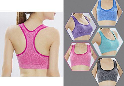 Smile YKK Soutien-gorge Sans Armature Femme Bra Sport Brassière Yoga Push Up Top Crop Fitness Bleu
