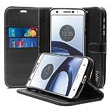 Motorola Moto Z Hülle, Profer [Premium Leder Serie] Schutzhülle PU Leder Flip Tasche mit Integrierten Kartensteckplätzen und Ständer für Lenovo Motorola Moto Z (Leder-Schwarz)