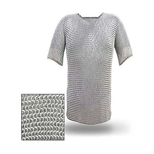 NASIR ALI Butted Chainmail Aluminum Chain Shirt Haubergeon Medieval Costume Armor