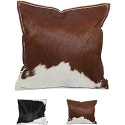 ebos Operación de la vaca piel almohada, 40x40cm, ✓ 100% fieltro de lana ✓ cómodo y lleno de plumas. Cojines de piel de alta calidad, dispersión cojines con relleno. Hermosos cojines decorativos, cojines de fieltro | Cojines al aire libre resistente, repelente al aguas almohadas (Marrón)