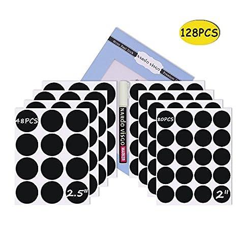 Nardo Visgo Étiquettes rondes de tableau-128 Autocollants réutilisables de tableau noir avec 3MM Étiquette de craie blanche pour étiqueter des bocaux, des boîtes et organiser votre maison, cuisine et bureau (noir)