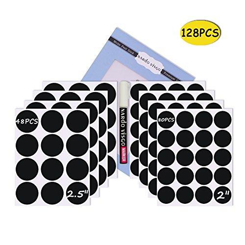 4 Lagerung Cubbies (Nardo Visgo Runde Tafel Etiketten-128 wiederverwendbare abnehmbare Tafel Aufkleber mit 3MM White Chalk Marker für Etikettier Gläser, Kanister und organisieren Ihr Zuhause, Küche und Büro (schwarz))