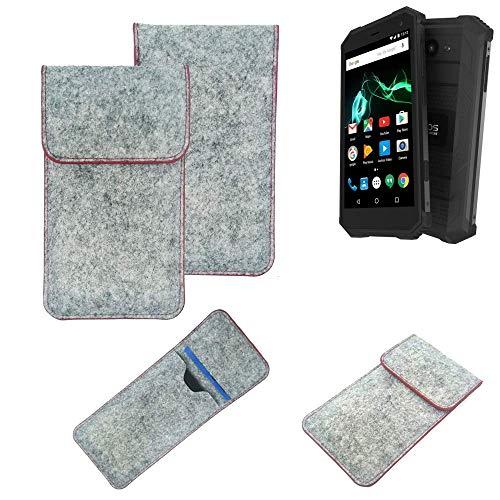 K-S-Trade® Filz Schutz Hülle Für -Archos Saphir 50X- Schutzhülle Filztasche Pouch Tasche Case Sleeve Handyhülle Filzhülle Hellgrau Roter Rand