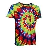MagiDeal Tie Dye Graphic T Shirt Kurzarm Casual Top Hippie Jugend Männer - Bunt, L
