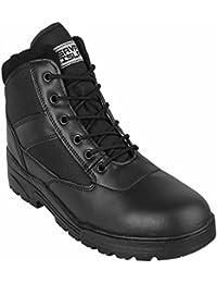 Savage Island Black Leather Combat Boots Mid Height