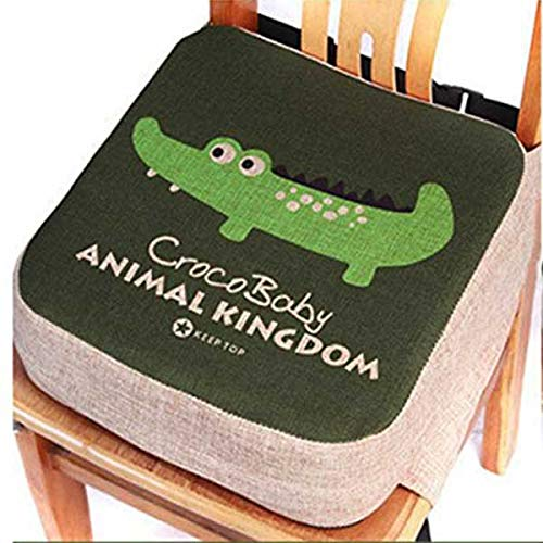 Cuscino per bambini, rialzo per sedia da pranzo - Cuscinetto portatile per sedia, imbottito, con cinghie regolabili - per bambini piccoli (Coccodrillo)