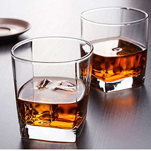 Z-Wenquan-glass, 6 Teile/Paket 170 ml Klassische Whisky Gläser Dicken Boden Whisky Glas Klarglas Tasse for Bier Tee Wein Trinken Bar Club Glaswaren (Capacity : 170ml) -