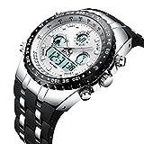 BINZI Herrenuhr Militaer Digital Uhr Wasserdicht Sport Quarzherrenuhr Dual-Display Mit Schwarzem Silikonband