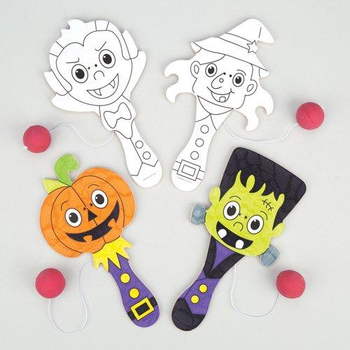Baker Ross Paddleballschläger Halloween zum Ausmalen als lustiges Spielzeug für Kinder zum günstigen Preis – perfekt als kleine Party-Überraschung für Kinder zu Halloween (4 Stück) (Günstige Halloween-taschen)