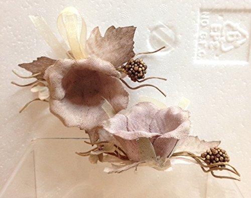 STOCK 24 PEZZI Segnaposto a forma di Rosa Piccolo Foglie Ecru bomboniera matrimonio comunione (Rosa Piccolo Stock)