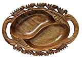IndicHues Wooden Handmade Oval Large Decorative Serving Bowl with Handle