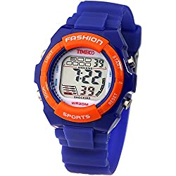 Time100 Kids' Digital Timing Multifunctional Dark Blue Strap Sport Electronic Watch#W40011L.03A
