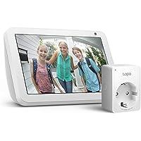 Echo Show 8 - Tessuto grigio chiaro + Tapo P100 Presa intelligente Wi-Fi, compatibile con Alexa