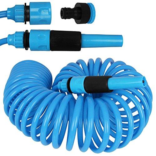 Edco Kinzo Gartenschlauch Spirale 10m - Schlauch - Wasserschlauch mit Farbauswahl (blau)