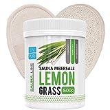 Saunasalz Lemongrass mit Luffa-Pad ideale als Geschenkeset | Körperpeeling Natur Luffa Schwamm für Bad und Dusche
