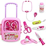 WISHKEY Doctor Medical Kit Toy with Pink Trolley Suitcase with Light and Sound Effects