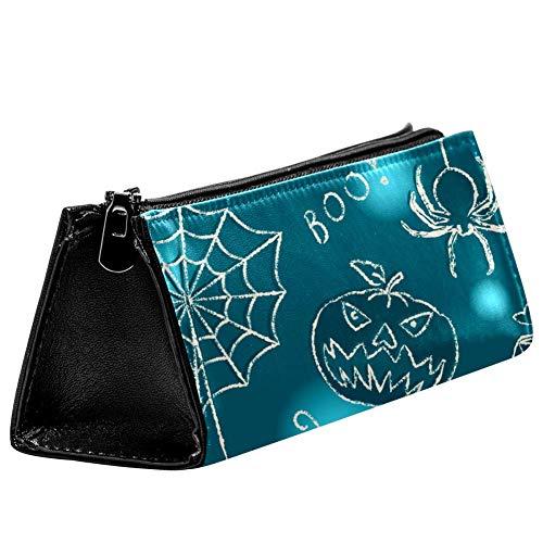 EZIOLY Halloween-Spinnen-Fledermaus-Kerzen-Stifttasche, Bleistifttasche, Kosmetiktasche, kompakt, mit Reißverschluss