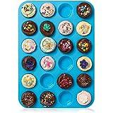 HelpCuisine® Teglia Muffin_Stampo Antiaderente per 24 Muffin/Teglia per Cupcake/dolcetti Realizzata in Silicone Alimentare di Alta qualità, Antiaderente e Privo di BPA, 24 stampini, Colore Blu