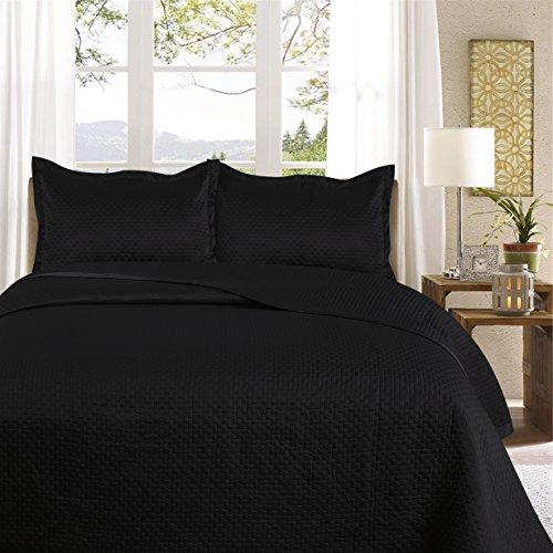 Uni Couette chaude pour lit Patchwork Édredon Jeté de lit   Polysatin   Taille 220 x 240 cm   Samphira Noir   par Mode de coton